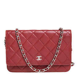 Chanel Red Quilted Leather Classic Wallet on Chain