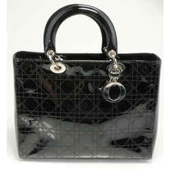 Dior Cannage Quilted Patent Leather Large Lady Dior Bag - Black
