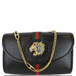 Gucci Rajah Small Web Leather Shoulder Bag Black 570145