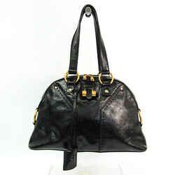 Yves Saint Laurent Muse 156465 Women's Patent Leather Handbag Black BF520456