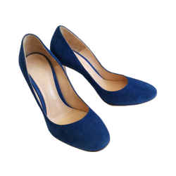 GIANVITO ROSSI BLUE ROMA SUEDE PUMP SHOES (37.5)