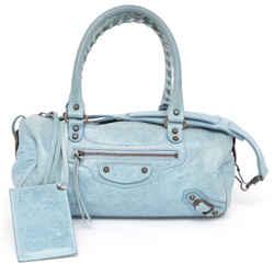 BALENCIAGA Leather Bag MINI TWIGGY Satchel Blue Brass Lambskin Shoulder Strap