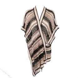 Missoni Size S Black Taupe & Pink Viscose Silk Blend Mesh Wrap Pullover