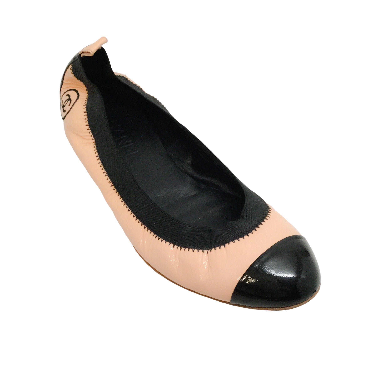 Black Patent Cap Toe Ballet Flats