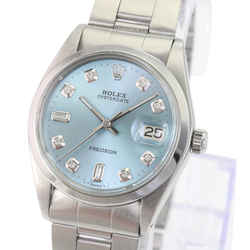 Rolex OysterDate Stainless Steel Ice Blue Diamond Dial 34mm Watch