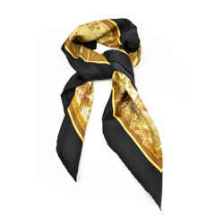 "Salvatore Ferragamo ""safari"": Black, 100% Silk Scarf/foulard 34"" X 34"" (o)"