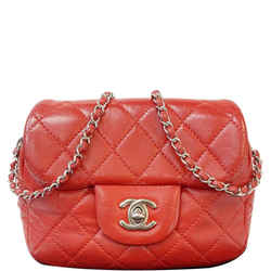 Classic Mini Flap Quilted Lambskin Crossbody Bag Red
