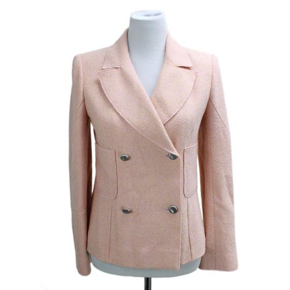 Chanel Pink Yellow Tweed Jacket sz 4