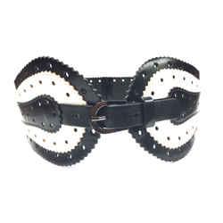 OSCAR DE LA RENTA Black & White Perforated Leather Wide Waist Belt