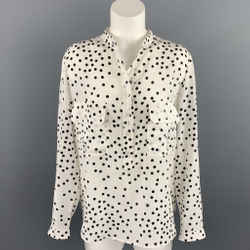 STELLA McCARTNEY Size 6 White & Black Dot Print Silk Blouse