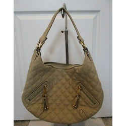 """Marc Jacobs Dark Beige Quilted """"banana"""" Hobo Bag With Gold Hardware"""