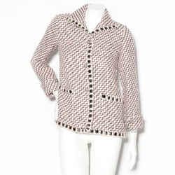 Chanel Light Pink Tweed Zig Zag Pattern Jacket