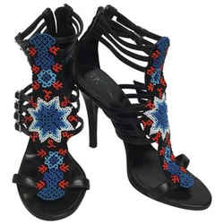 Balmain Black With Red and Blue Beading Sandals Size: EU 37 (Approx. US 7) Regular (M, B) Item #: 23843926