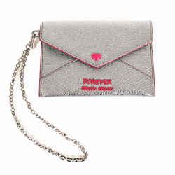 NEW $550 MIU MIU Silver Cromo FOREVER HEART Envelope Madras WRISTLET WALLET NIB