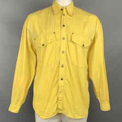 Vintage VERSACE JEANS COUTURE Size L Yellow Contrast Stitch Cotton Long Sleeve Shirt