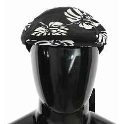 Dolce & Gabbana Black Cotton Leaves Print Newsboy Men's Hat
