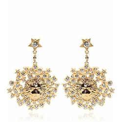 New Versace Versus Rhinestone & Gold Plated Lion Earrings