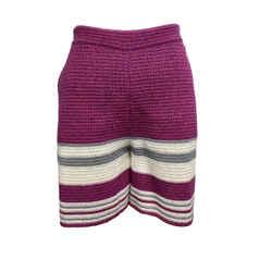 Chanel Berry / Periwinkle / White Horizontal Stripe Shorts
