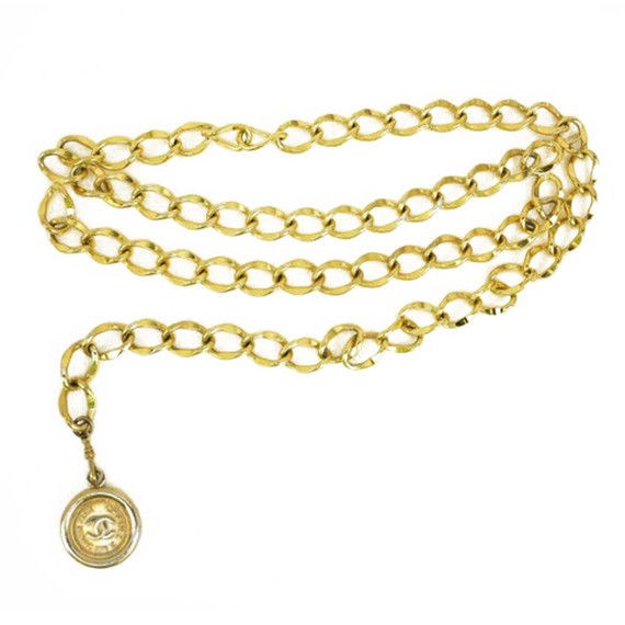 """Chanel: Gold Metal, Chain """"cc"""" Medallion Belt/necklace - Fits Up To 33"""" (nq)"""