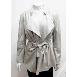 New St. John 06 Small Open Front Metallic Lamb Leather Jacket Silver Belted
