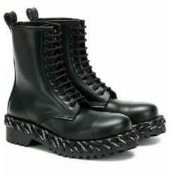 NEW Balenciaga Black Matte Leather Lace Detail Combat Boots Size 39