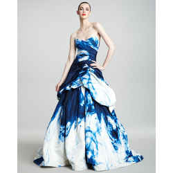 Monique Lhuillier 02 Ink Print Evening Ball Gown Dress Blue White Strapless 2012