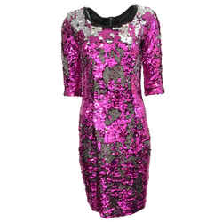 Dolce&Gabbana Fuchsia/Silver Color-changing Sequin Formal Dress