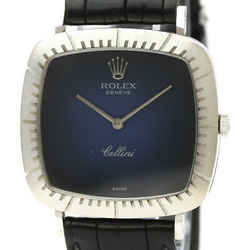 Vintage ROLEX Cellini 18K White Gold Hand-Winding Mens Watch 4084 BF532594