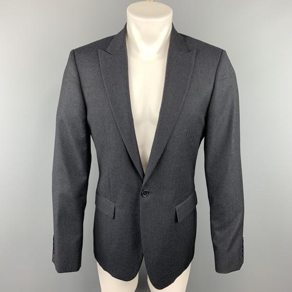 Calvin Klein Collection 38 Charcoal Glenplaid Wool Peak Lapel Sport Coat
