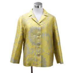 Max Mara Yellow Grey Silk Polyester Linen Jacket Sz 12