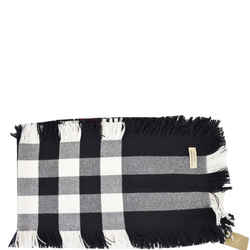 Half Mega Check Fringe Wool Scarf Black