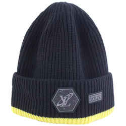 Louis Vuitton Black x Yellow Cable Knit Gravity Beanie Hat Cap Space 527lvs38