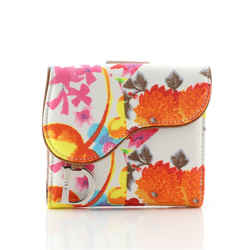 Vintage Saddle Flap Wallet Printed Canvas Mini