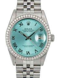 Rolex Mens Datejust Steel 36m Sky Blue Roman Dial Diamond Bezel Watch