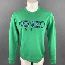 KENZO Size M Green Patch Cotton Crew-Neck Sweatshirt