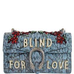 GUCCI Dionysus Small Blind For Love Python Shoulder Bag Marine Blue 481606