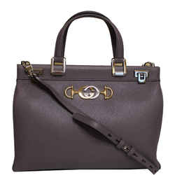 Gucci Zumi Medium Grainy Leather Top Handle Bag Dusty Grey 564714