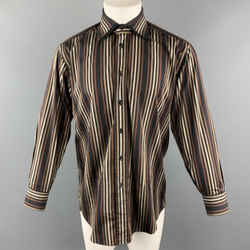 Versace Classic Size S Brown & Black Stripe Cotton Double Collar Button Up Long Sleeve Shirt
