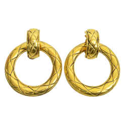 Authentic Chanel Clip On Hoop Earrings Quilted GP Jewelry Accessories