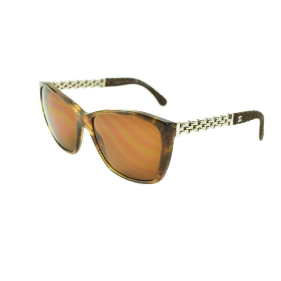 "CHANEL ""Chain"": Havana Brown, Leather & ""CC"" Logo Polarized Sunglasses (lw)"