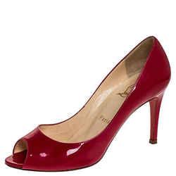 Christian Louboutin Fuschia Patent Leather Maryl Peep Toe Pumps Size 37