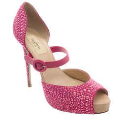 Valentino Pink Crystal Peep Toe Pumps