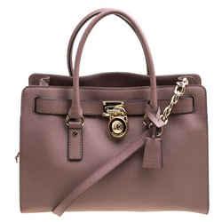 Michael Michael Kors Pale Pink Leather East West Hamilton Top Handle Bag