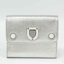 Christian Dior Diorama Women's Leather Wallet (tri-fold) Silver BF330521