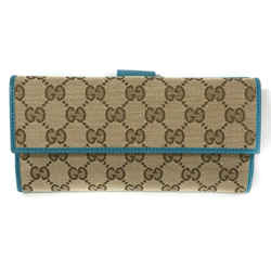 New/authentic Gucci 231841 Gg Guccissima Canvas Wallet, Brown/cobalt