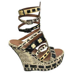ALAIA Black Patent Leather and Cream Snake Platforms Wedges Size: US 7.5
