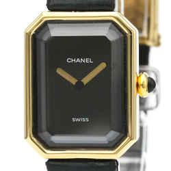 Polished CHANEL Premiere 18K Gold Leather Quartz Ladies Watch H0090 BF521629