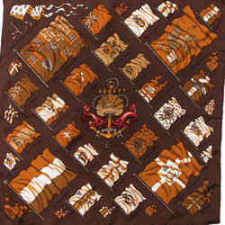 HERMES Pavois Brown Vintage Silk Scarf One2One Collaboration