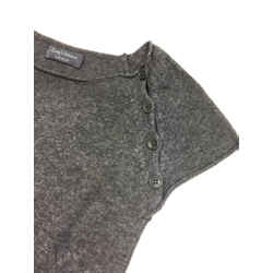 ZADIG & VOLTAIRE Graphite-Gray Cashmere Crystal Embellishment Cap-Sleeve Top SzS