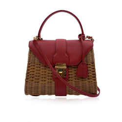Mark Cross Wicker and Red Leather Satchel Handbag with Strap